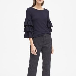 Banana Republic Navy Tiered Sleeve Jersey Top
